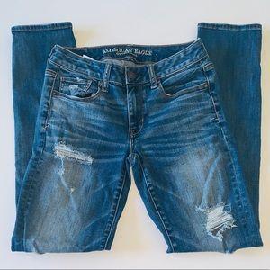 AEO distressed skinny jeans